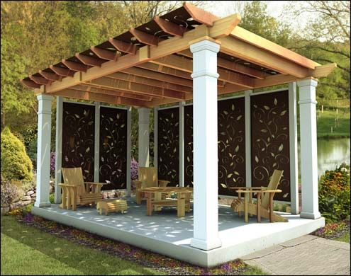 10 X 16 Oasis Pergola With Privacy Panels And Cedar Furniture Can I Just Get This In My Back Yard Please I Promise To Use I Outdoor Pergola Pergola Backyard