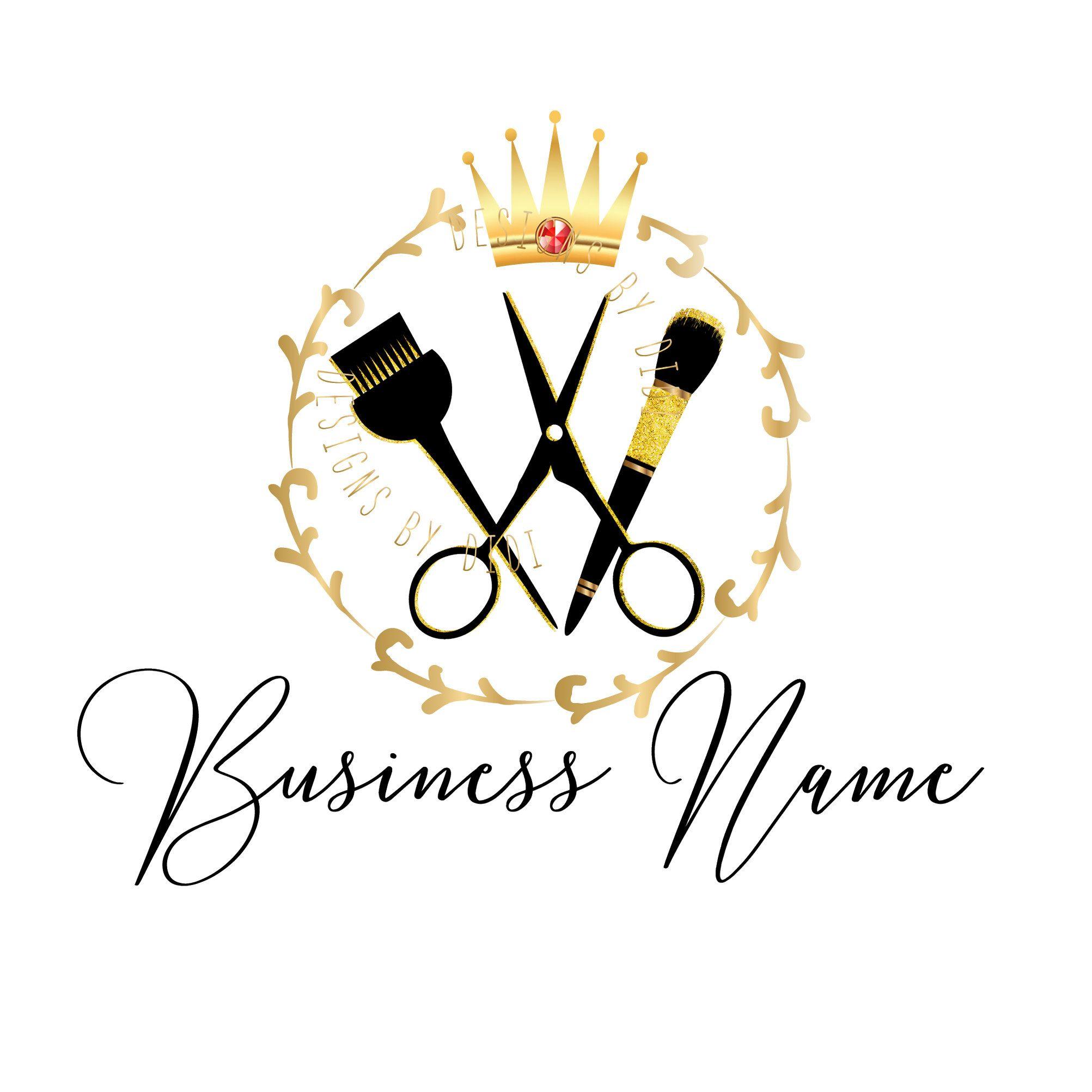 Beauty gold logo, Custom logo design, gold Scissors Comb