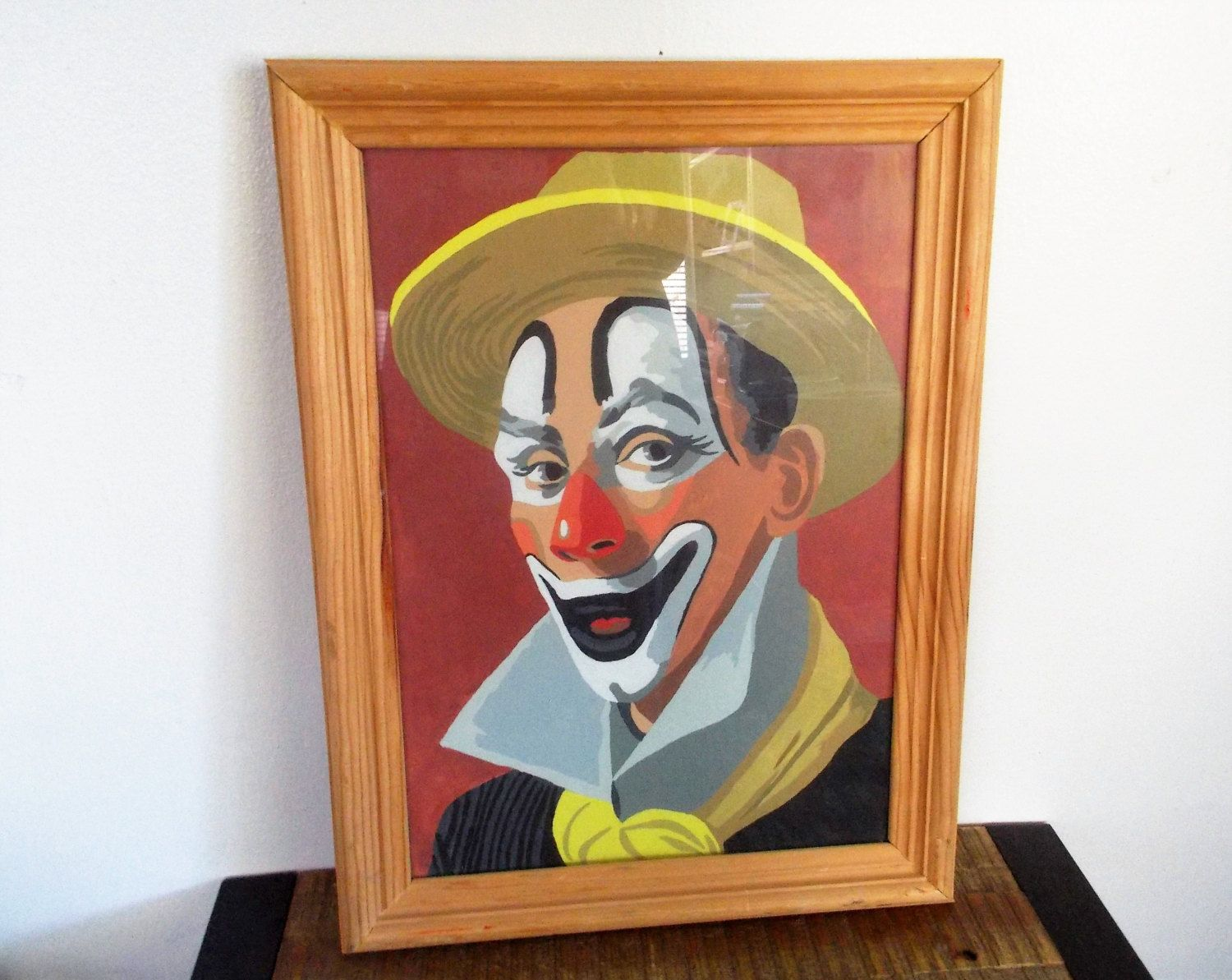 Vintage Farmed Paint By Number Dandy Clown Oil Painting