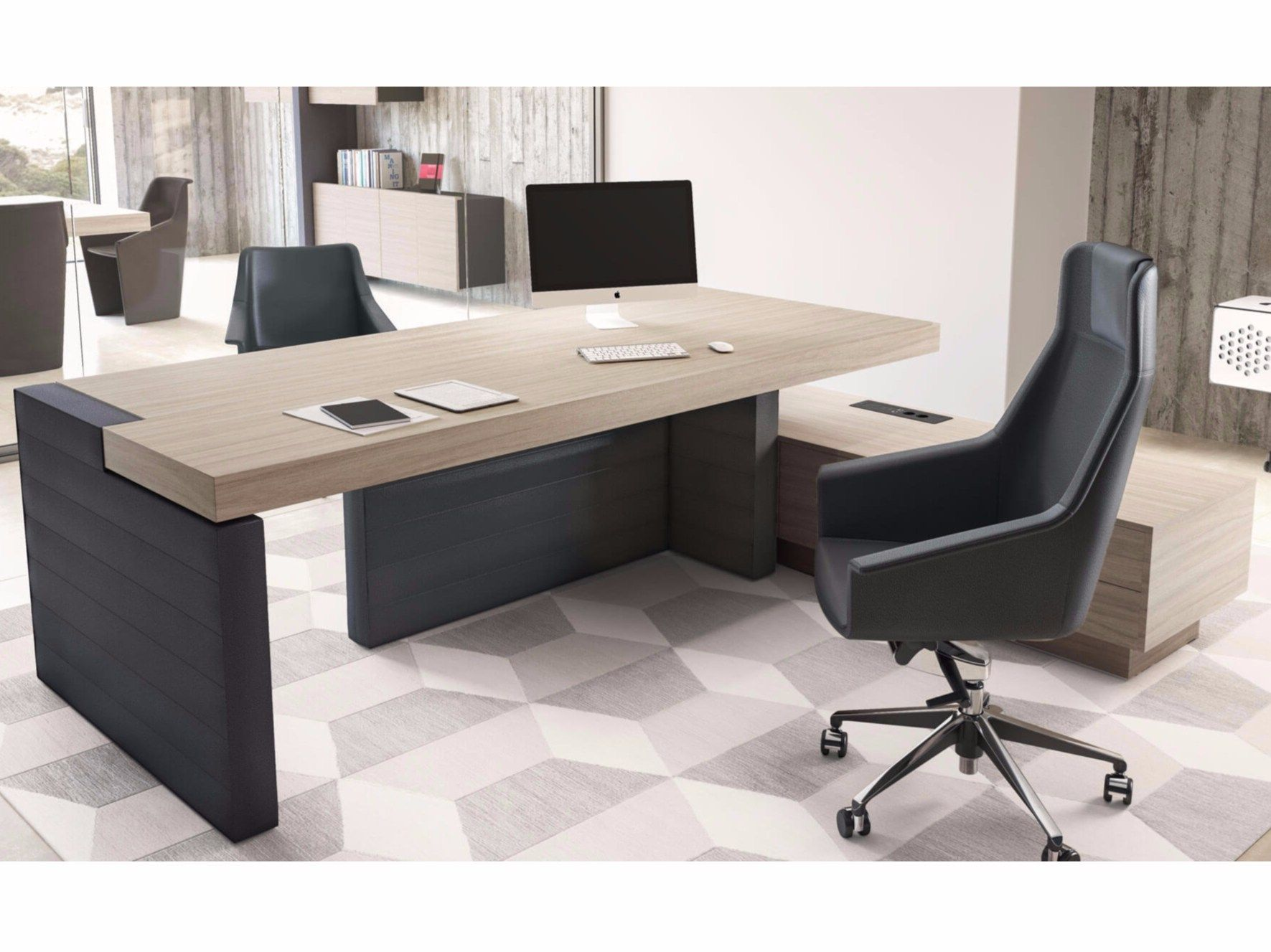 Mobili Furniture L Shaped Executive Desk With Shelves Jera Office Desk With