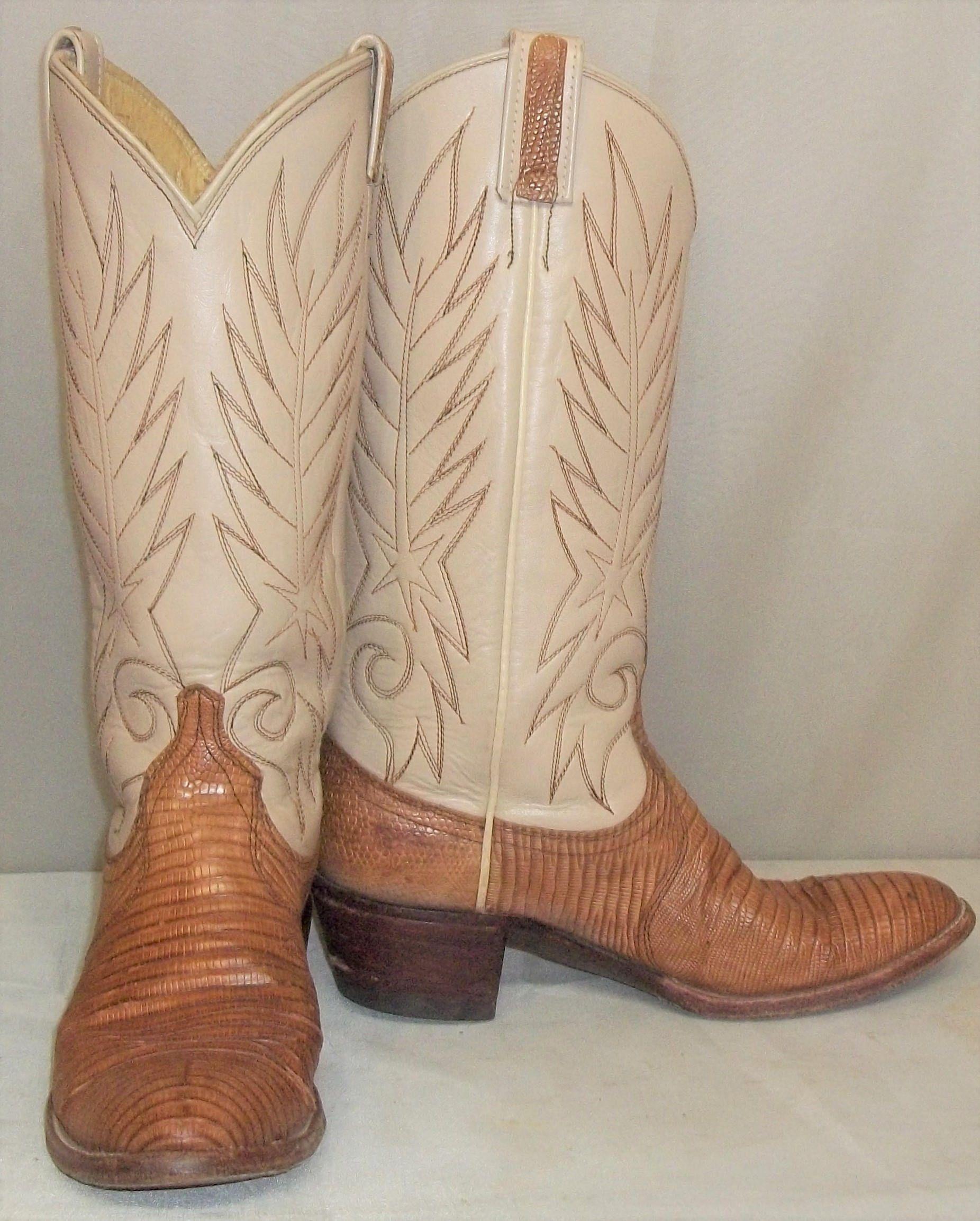 4015cb432a0 Vintage Women's Lizard Leather Beige Tan Cowboy Western Boots 6 1/2 ...