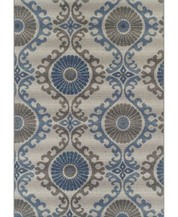 D Style Weekend Wkd2 Silver 8 2 X 10 Area Rug Floral Area Rugs