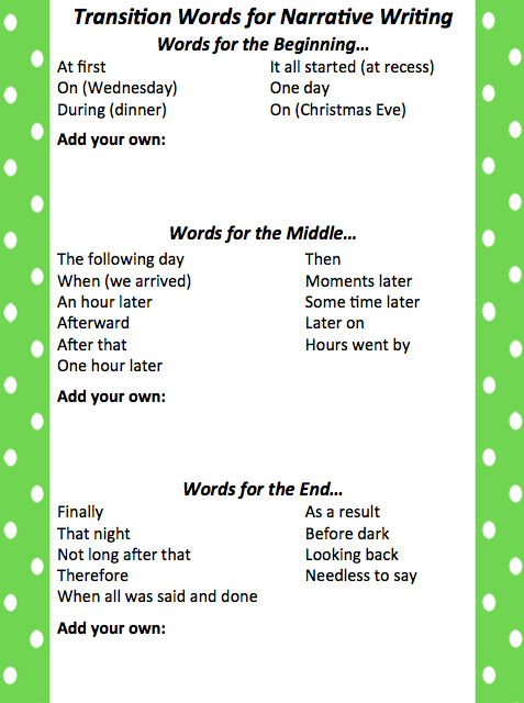 transitional words for narrative essays
