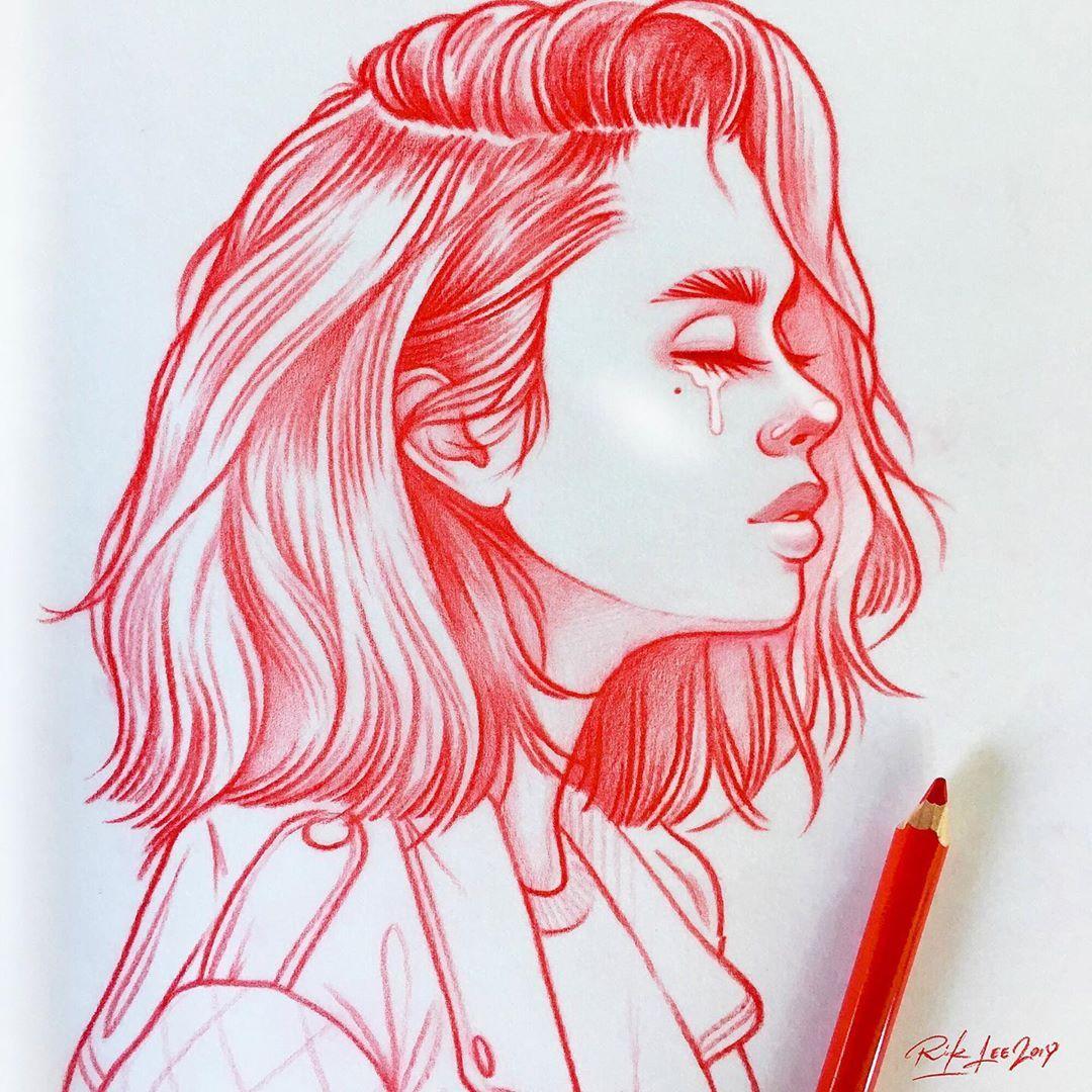 Rik Lee Sur Instagram Riklee Illustration Art Sketch Pencildrawing Portrait Cry Illustration Art Girl Illustration Art Drawing Cool Art Drawings