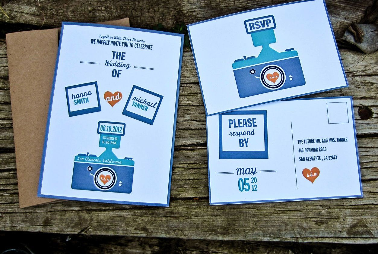 Retro Camera Wedding Invitations Polaroid Wedding Wedding Invitations Handmade Wedding Invitations
