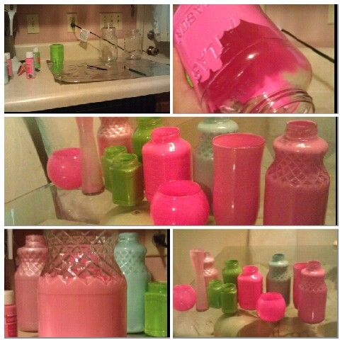 Diy painted glass bottles to use as decorations for my for Can acrylic paint be used on glass bottles