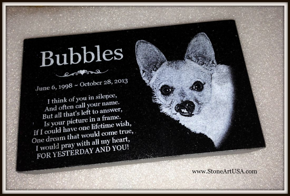 R.I.P. Bubbles ~ 10x6x2 laser etched granite pet memorial ... New ...