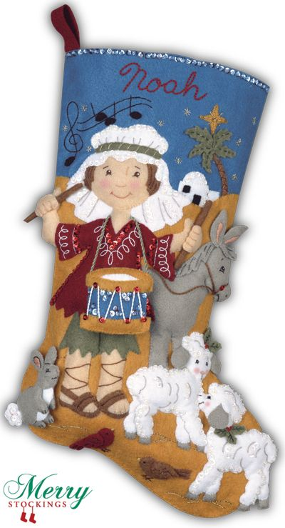 "Bucilla Felt Christmas Stocking kit, old discontinued kit ""Drummer Boy"" re-manufactured exclusively for MerryStockings. Available 1/1/13 for $34.99."