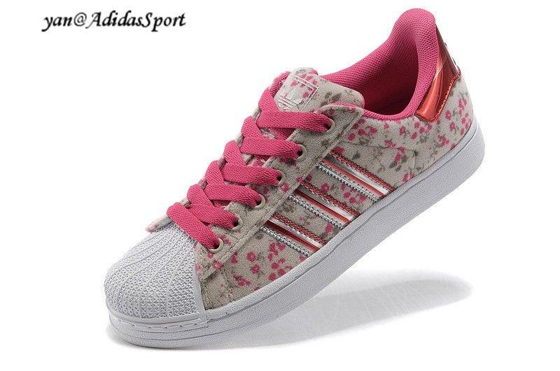Adidas Originals Superstar II sneakers women's pink hot-grey/white-red  flowers HOT