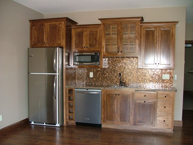 Ldk Wet Bar With Full Sized Refrigerator Dishwasher And Microwave Custom Wood Cabinetry And Tile Ba Basement Bar Designs Wet Bar Basement Small Bars For Home