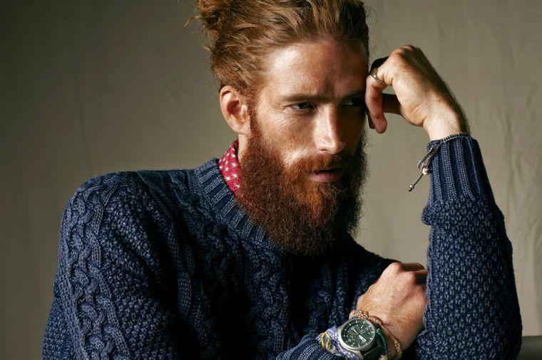 una proposta per tagli uomo di tendenza con man bun e barba lunga ... df2e3ad88b42