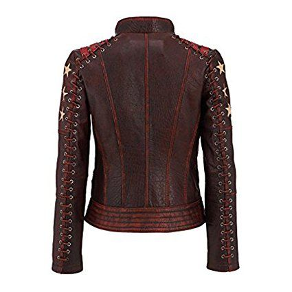 women's ox blood cafe racer leather jacket top seller: amazon.co