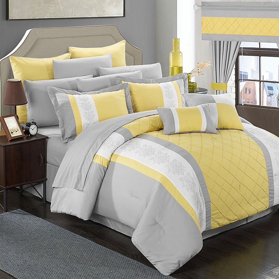 Chic Home Melanie 24 Piece King Comforter Set In Yellow Grey