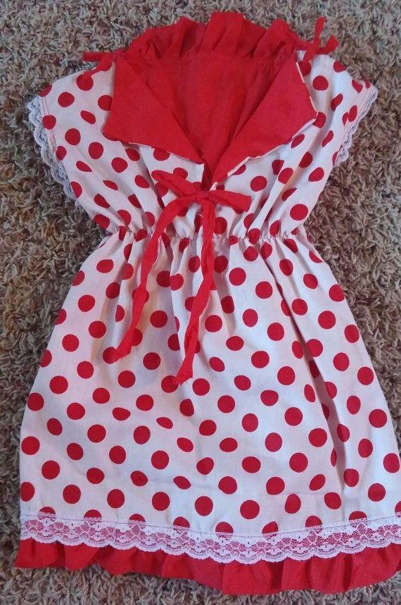 Red white polka dot dress size 12