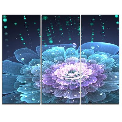 Designart Fractal Flower With Water Drops 3 Piece Graphic Art On Wrapped Canvas Set Floral Metal Wall Art Design Art Canvas Wall Art
