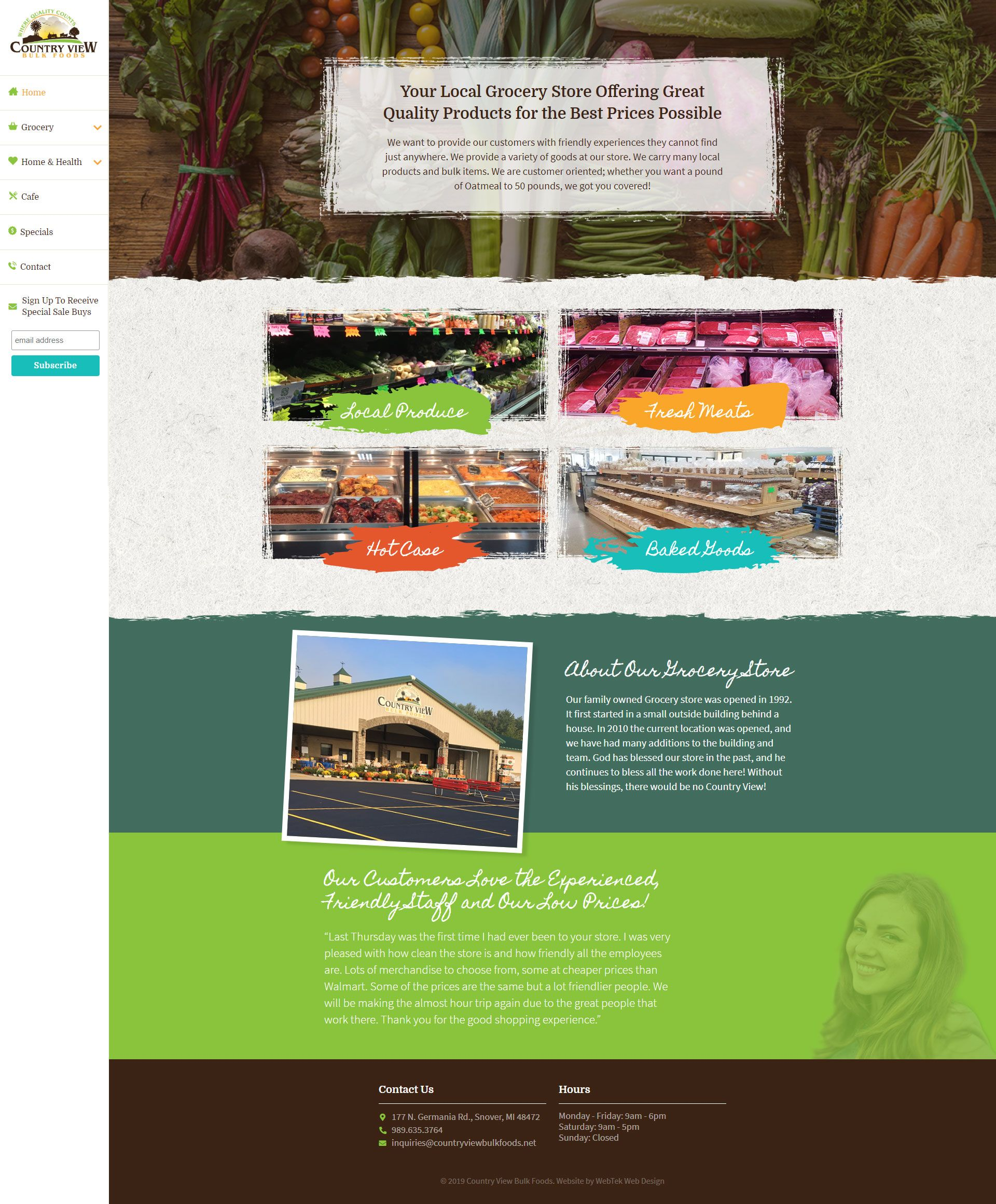 Web design snover mi country view bulk foods web