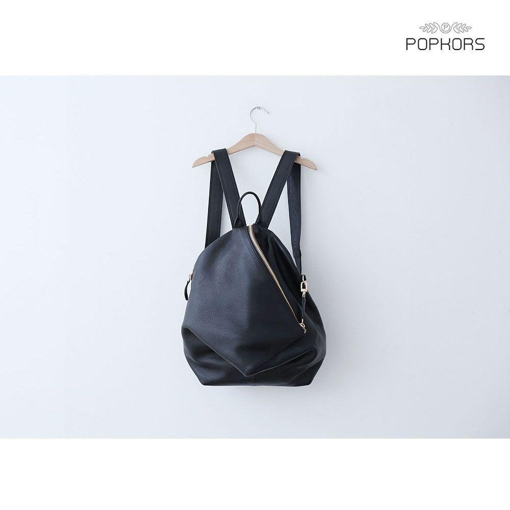 P380 Oblique Zip Line Unique Design Women Leather Backpack Bookbag Rucksack