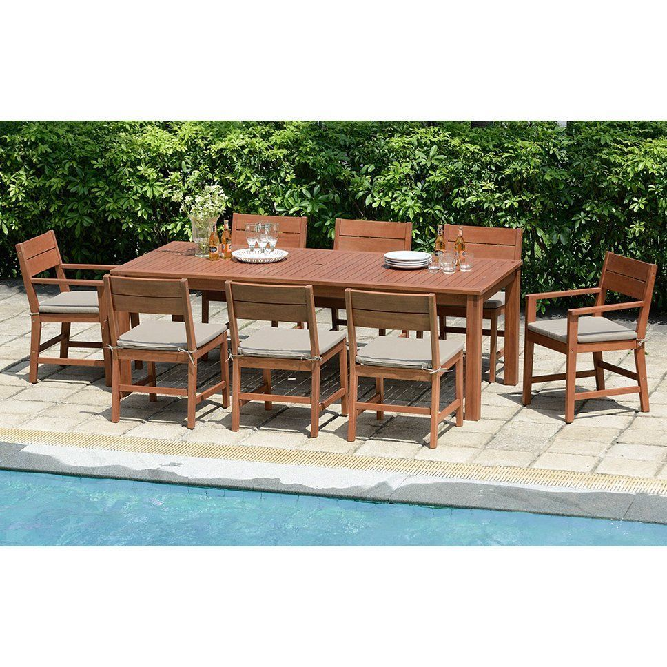 Garden Dining Set Wooden 8 Seater Chairs Rectangular Table Brown Cushions Patio Wooden Dining Set Outdoor Dining Set Garden Dining Set