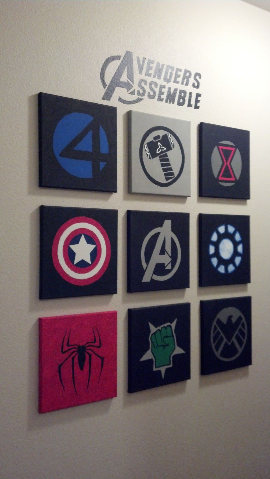 Marvel Avengers Wall Art Made Out Of 10x10 Canvases And Acrylic Paint For Over Primal Boy S Sleeping Area Avengers Wall Art Marvel Bedroom Avengers Room