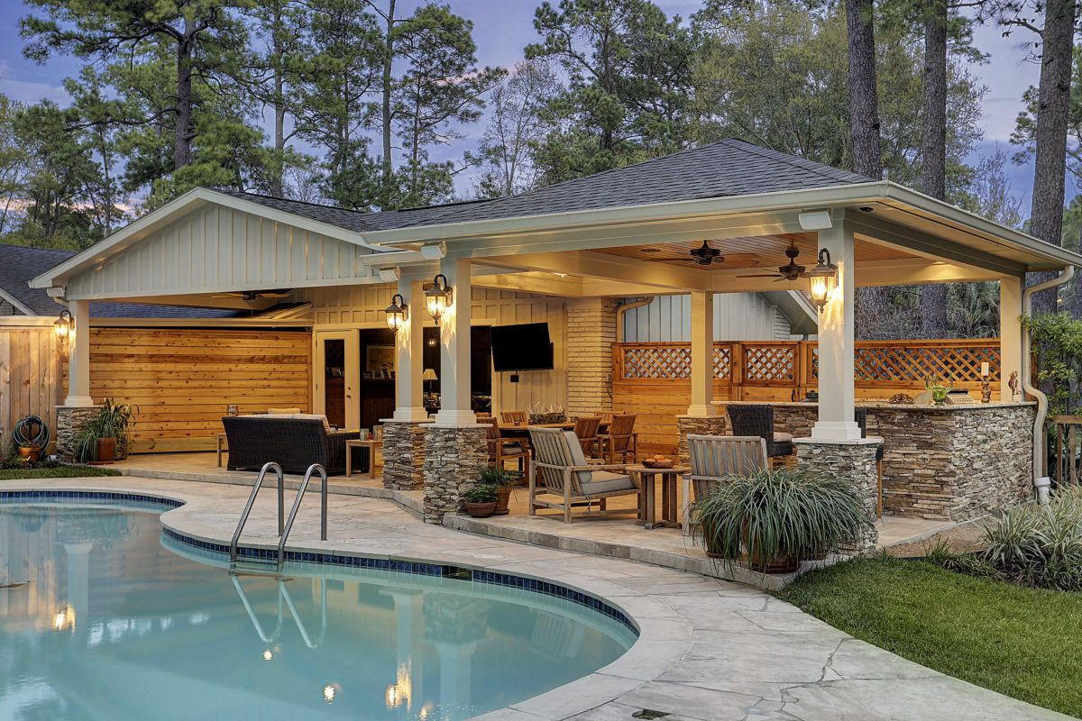 Patio Cover And Kitchen In Hunters Creek Memorial Area Backyard Pool Designs Outdoor Kitchen Design Patio Design
