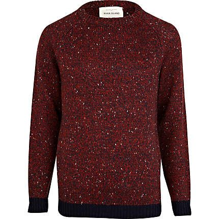 Red salt and pepper knit jumper - jumpers - knitwear - men