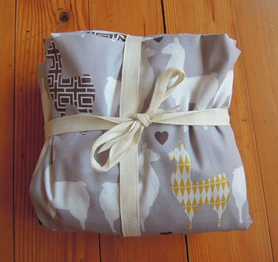 Fitted Crib Sheet Organic Cotton Llama Love By