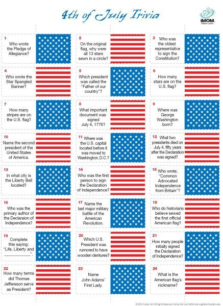 It is an image of Satisfactory 4th of July Trivia Printable