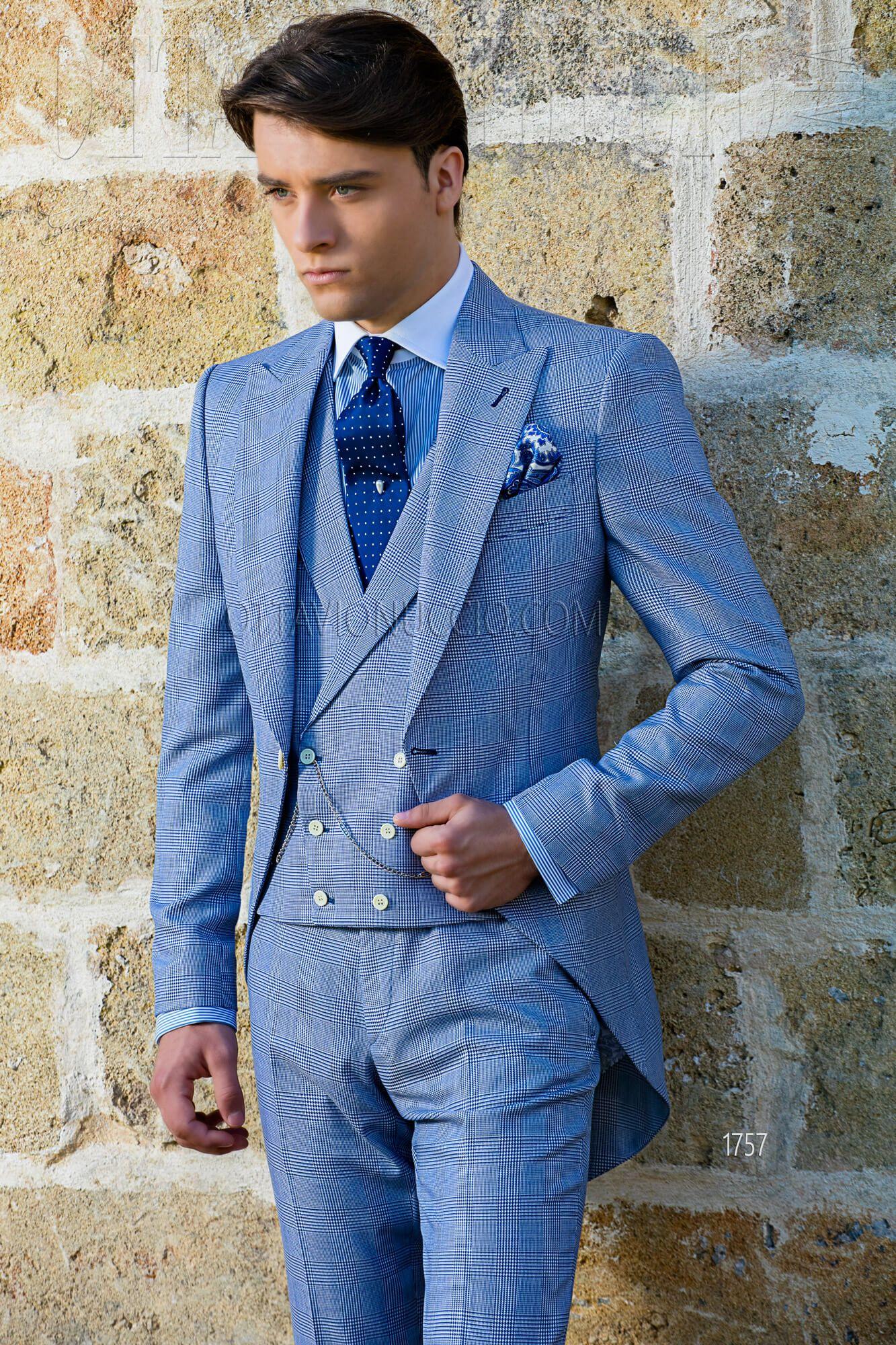 Blue Prince of Wales short tail groom suit #luxury #groom #suit ...