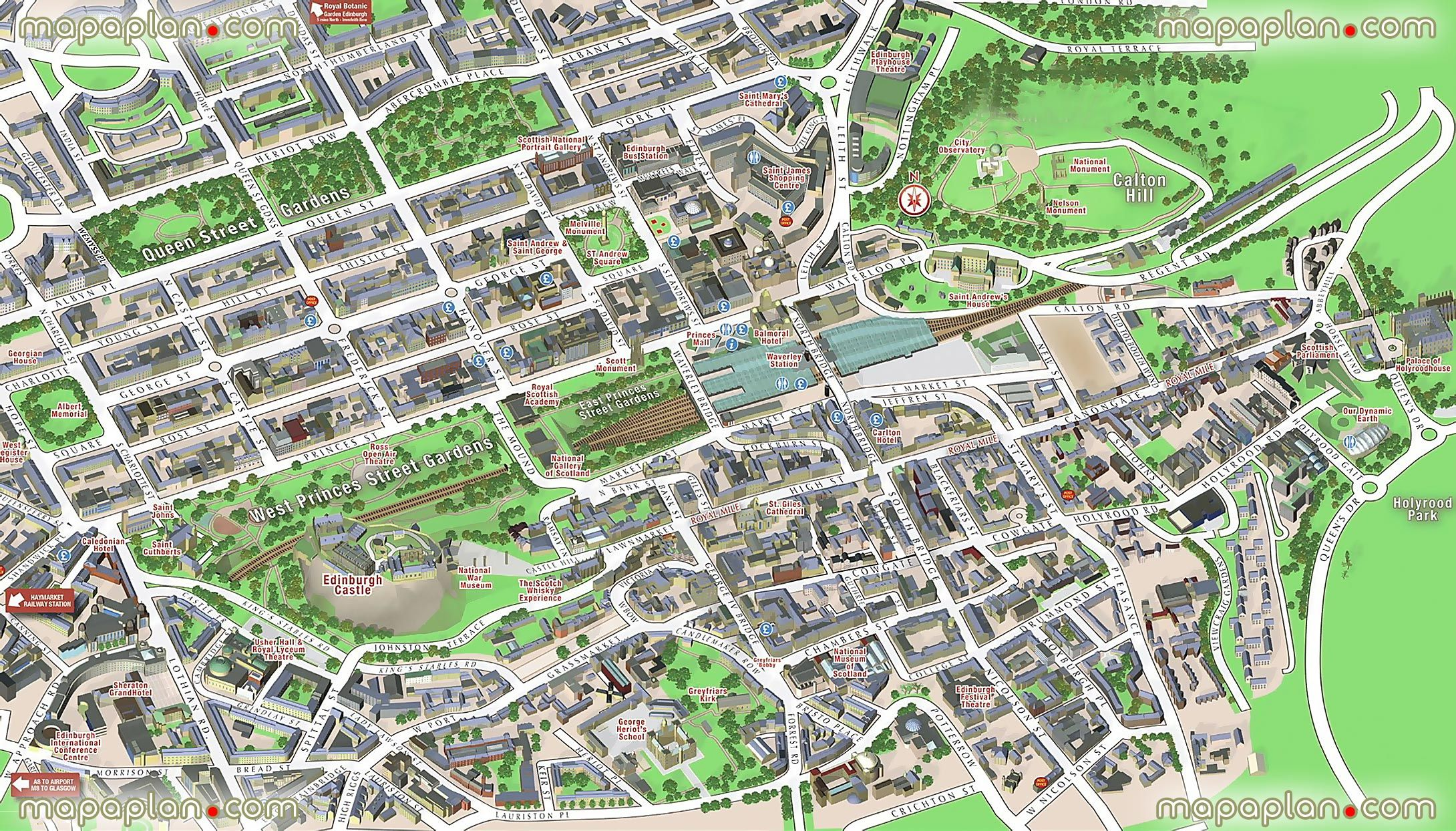central edinburgh scotland visitors 3d interactive printable inner