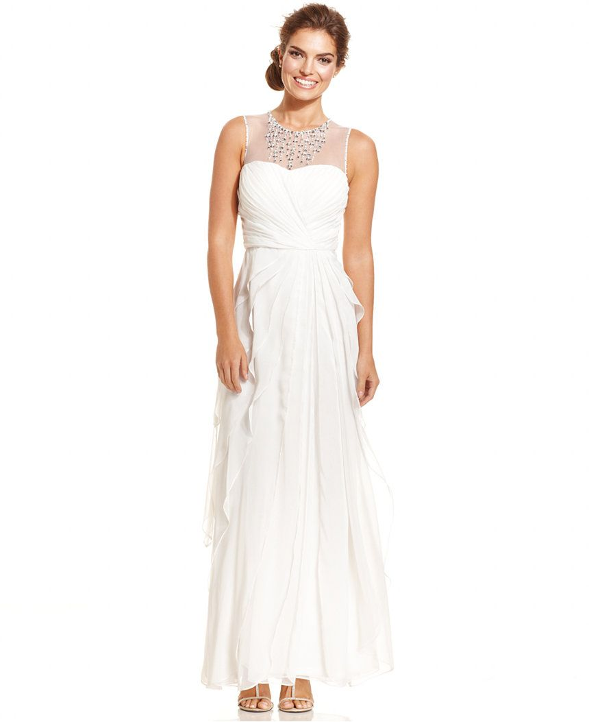 Wedding dresses at macy's  Adrianna Papell Embellished Tiered Chiffon Gown  Dresses  Women