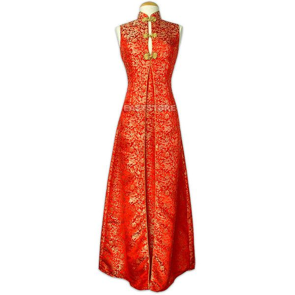 Chinese Party Dress-Noble Dragon Brocade Dress ❤ liked on Polyvore featuring dresses, brocade cocktail dress, red dress, brocade dress and red cocktail dress