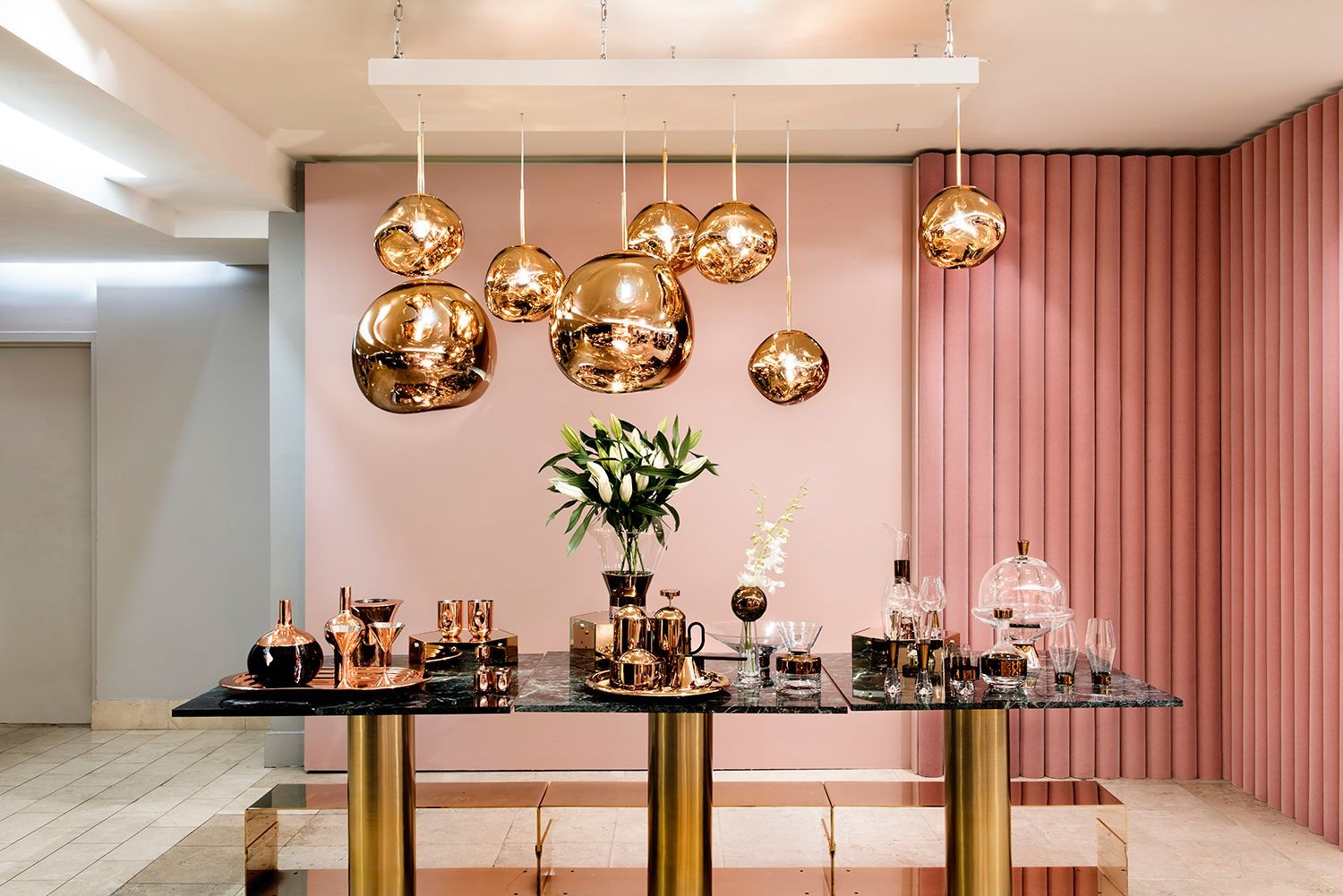 Tom Dixon Melt Pendants On Display In Barney S Ny Metallic Lighting On A Pink Backdrop Chandelier In Living Room Tom Dixon Hanging Pendant Lights
