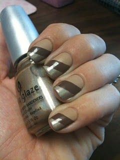 diagonal design nail art