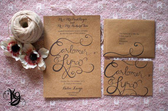 Vintage Calligraphy Wedding Invitation printed on Eco Kraft Card