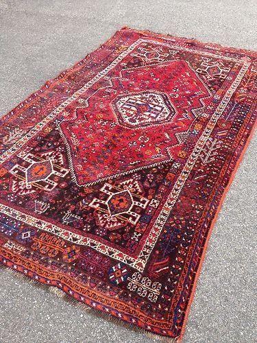 ancien tapis c h i r a z fais main grand tapis oriental persan rouge antique ebay - Tapis Oriental Rouge