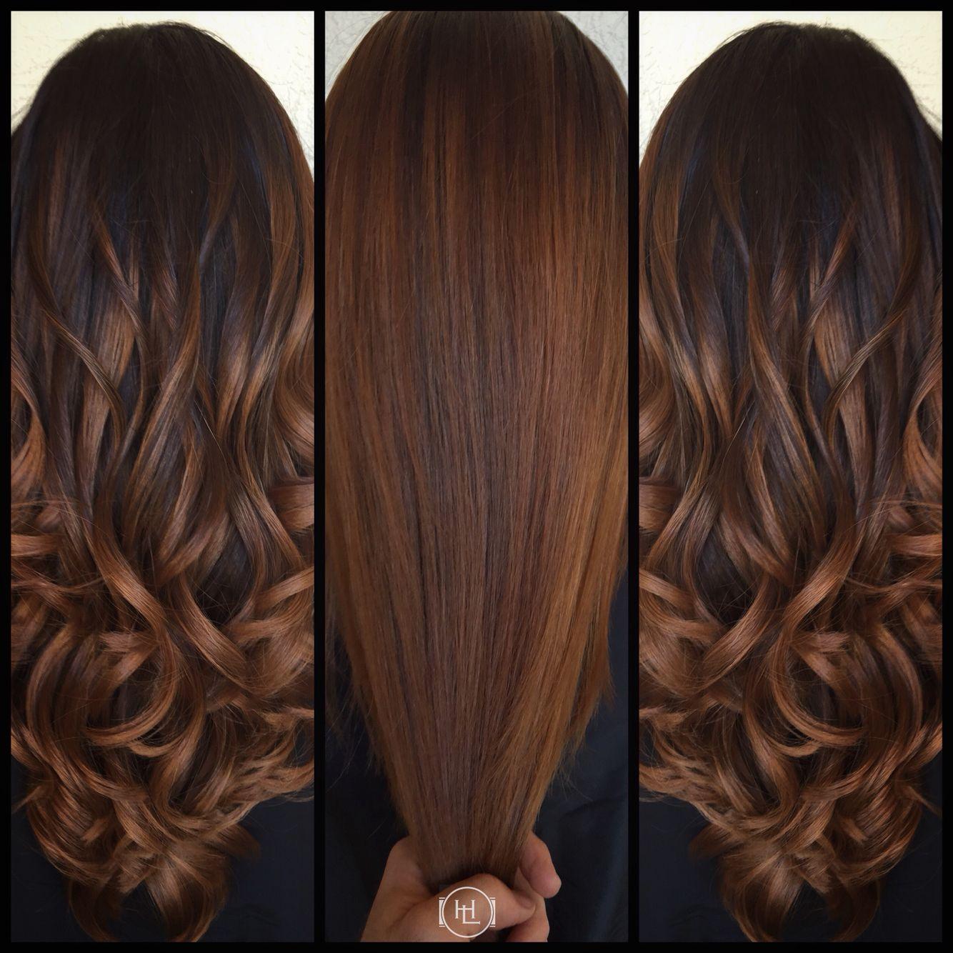 balayage, cinnamon color , long hair . hair by:emilio v