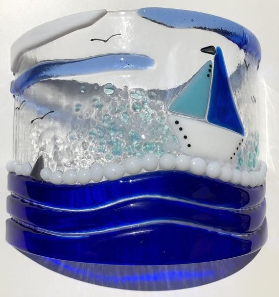 Sail boat curve/Blue sailing Boat/Boat candle curve