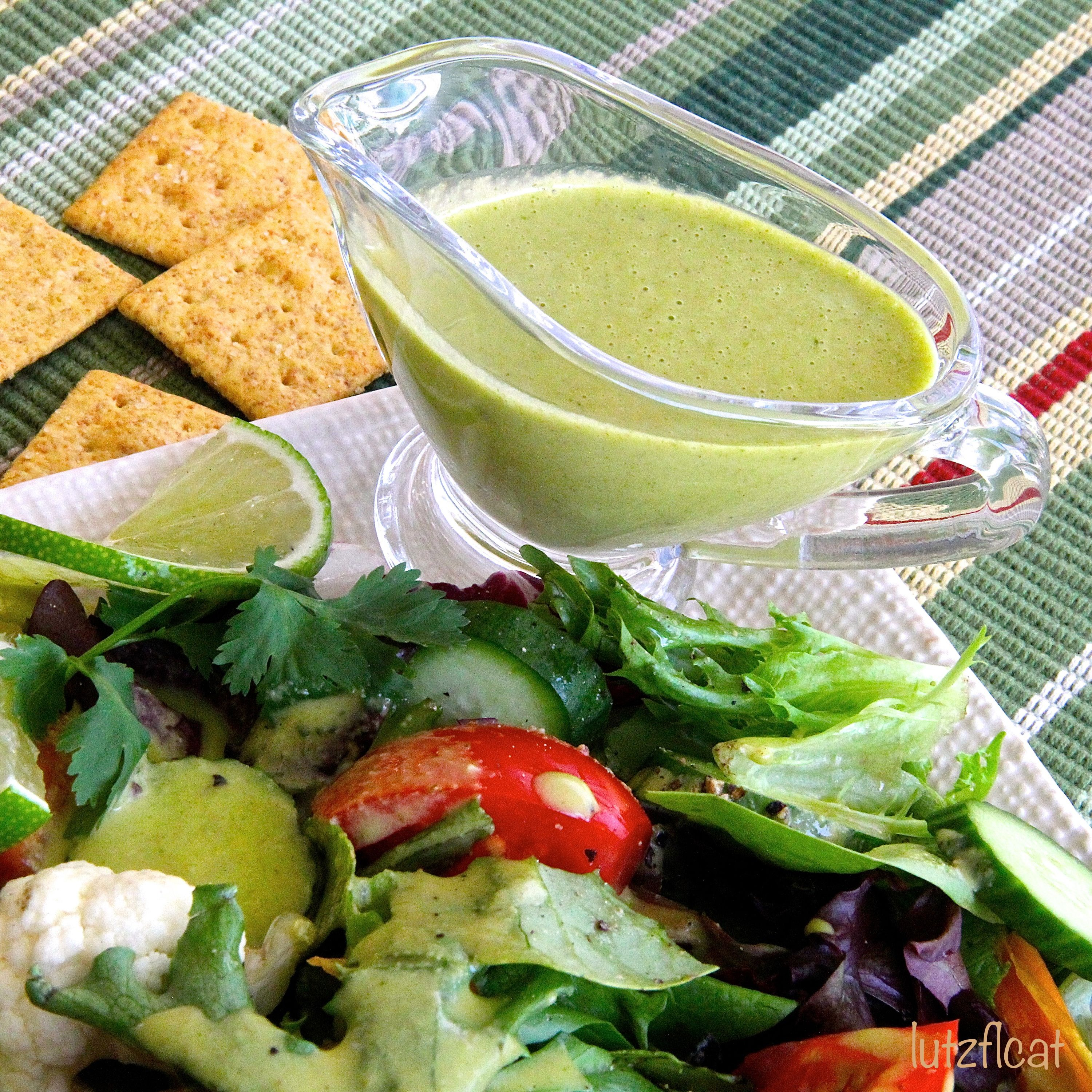 Lime Cilantro Vinaigrette  Made this and it's super good. I added some honey to fight the tart and I didn't put the juice of limes in, I instead cut the lime skin off of two limes and tossed them into the blender. Worked great. I added no salt