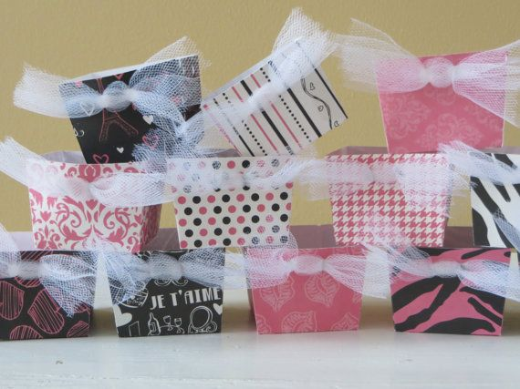 Pink and Black Birthday Treat Boxes