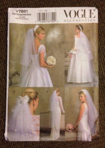 Vogue Bridal Veil Sewing Pattern V7861 UNCUT 4 Styles Wedding Lace ...