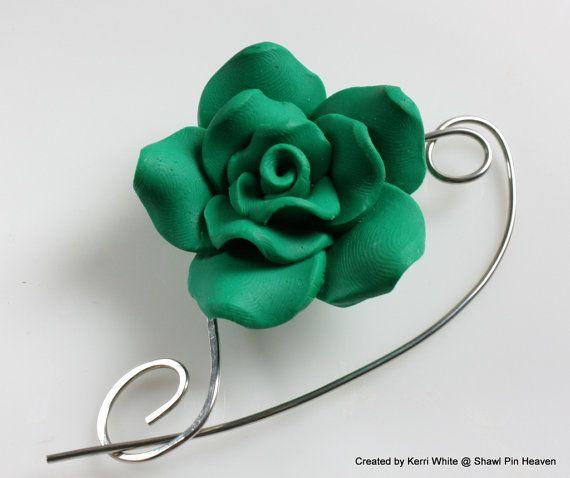 Shawl Pin or Scarf Pin - Emerald Green Rose