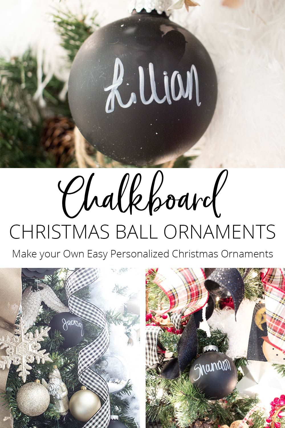 Chalkboard Christmas Ball Ornaments Easy Personalized Christmas