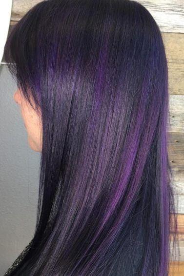 Purple Highlights All Things Hair Image Instagram Trend Brown Hair Purple Straight Hair Streaks Brown Straight Hair Dark Hair With Highlights