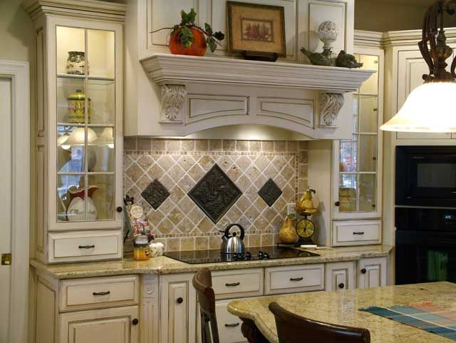 backsplash designs behind stove with stove inset with custom tile
