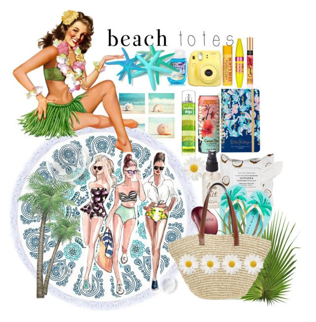 """beach totes bag"" by anoo17k ❤ liked on Polyvore featuring Olivine, Sephora Collection, Kate Spade, Tangle Teezer, Phase 3, Lilly Pulitzer, Fujifilm, Maybelline, Burt's Bees and Superga"