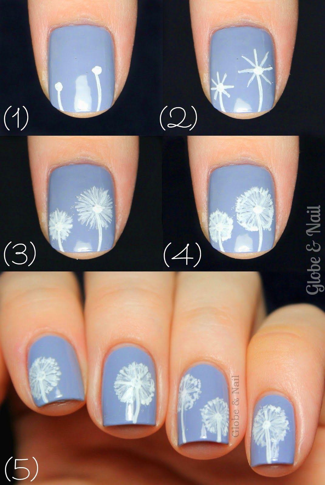 Globe & Nail: Dandelion Nail Art Tutorial | Neat Nails | Pinterest ...