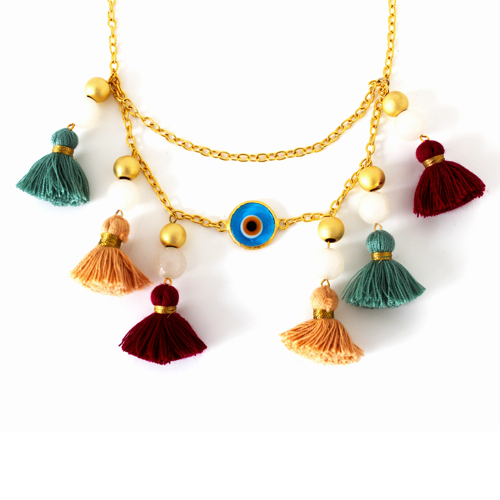 Tasseled Gold Evil Eye Protecting Necklace