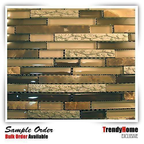Sample Stainless Steel Insert Gray Marble Stone Mosaic: Details About Sample- Leaf Insert Dark Emperador Crystal