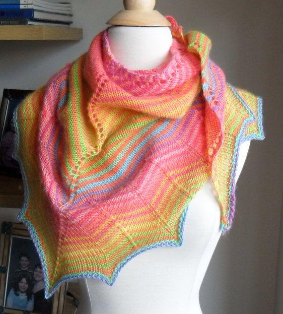 Bright Rainbow Stripe Shawl / Scarf by PlumTreeKnits on Etsy, $119.00