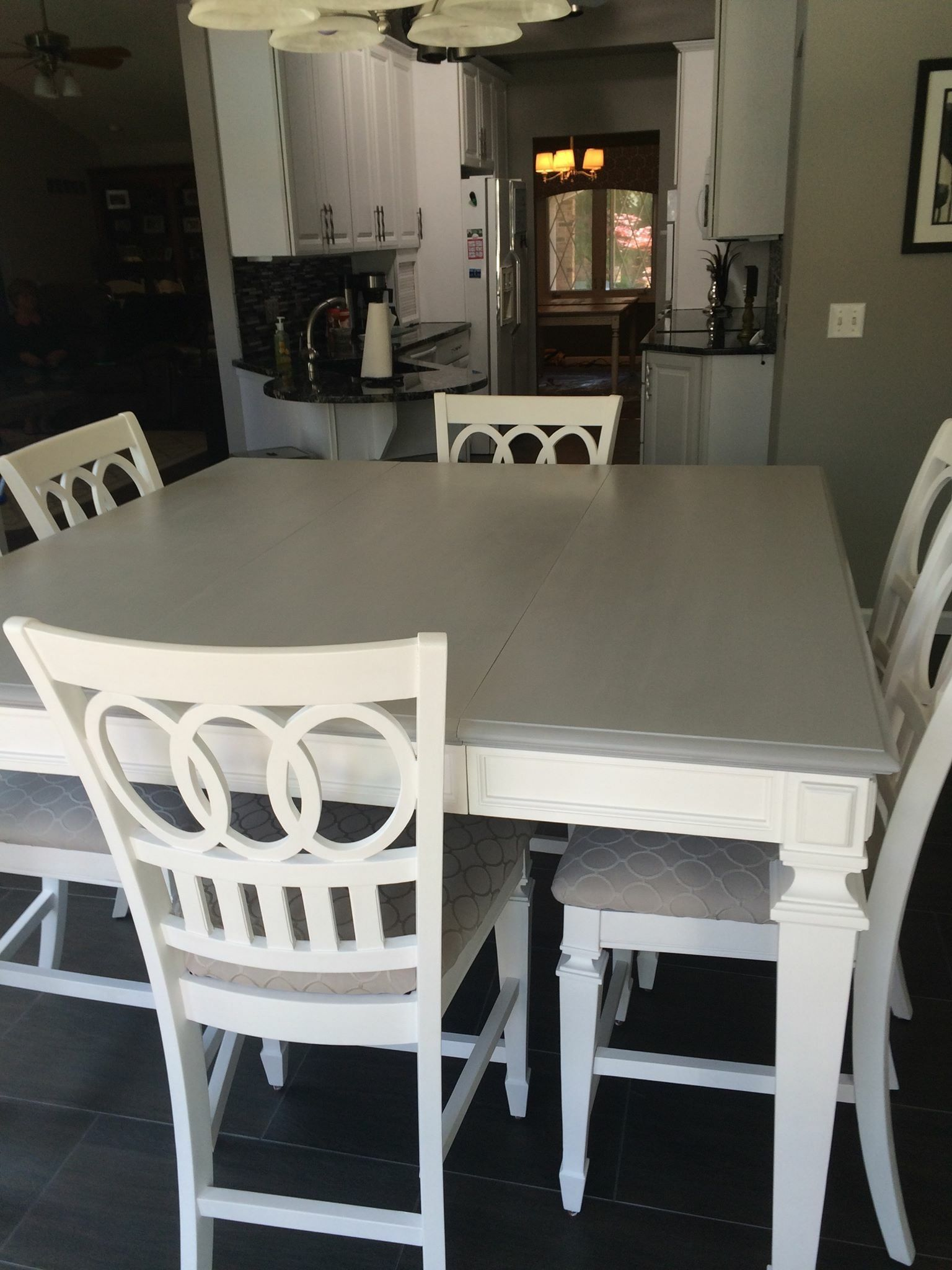 Gray Table Top And White Legs White Chairs Grey Kitchen Table